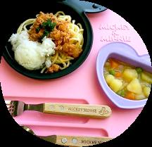 【なすのミートスパゲッティ、じゃが芋の甘辛煮、オレンジ】(1・2才児)